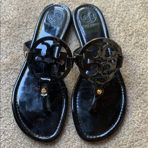 Tory Burch Black Patent Leather Miller Sandals 9